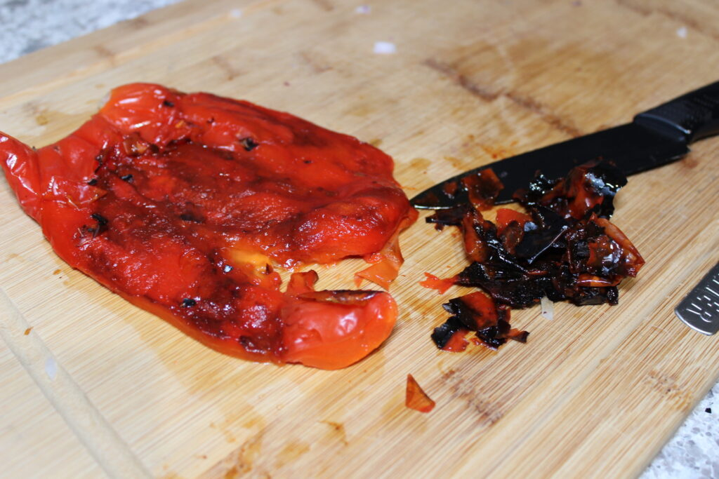 removing skin from roasted peppers