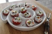 cream cheese and olive stuffed cherry tomatoes
