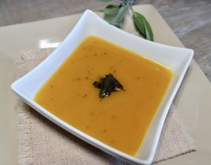 curried squash soup with crispy sage