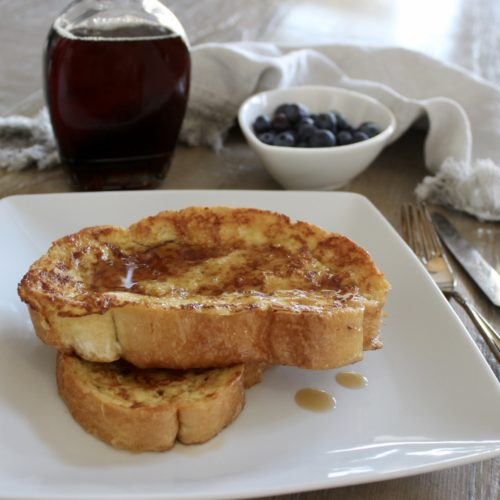 french toast with real maple syrup