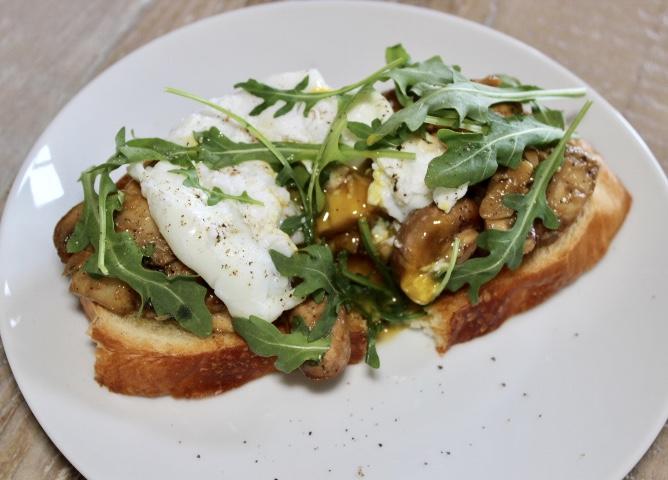 mushroom toast with arugula
