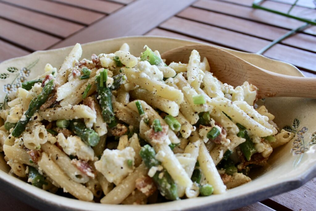 pasta salad with asparagus bacon and feta