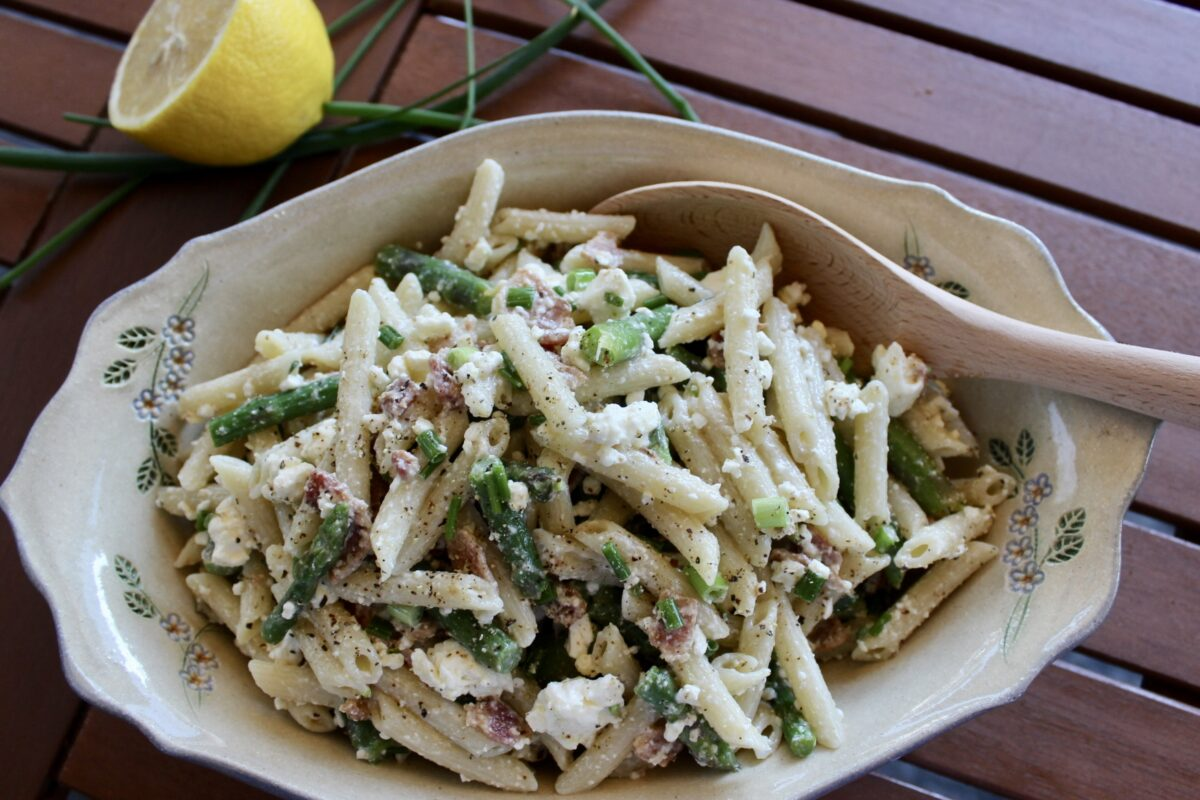 Pasta Salad with Asparagus, Bacon and Feta