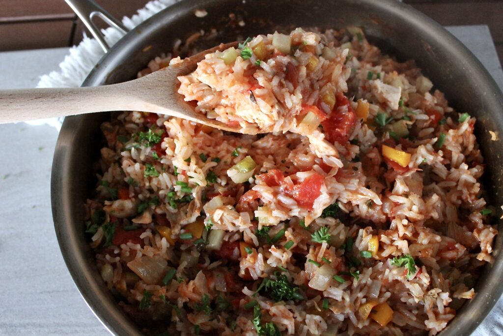 chicken and rice with tomato skillet dinner