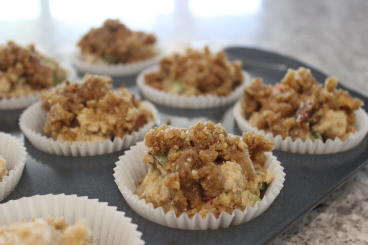 rhubarb cranberry streusel muffins