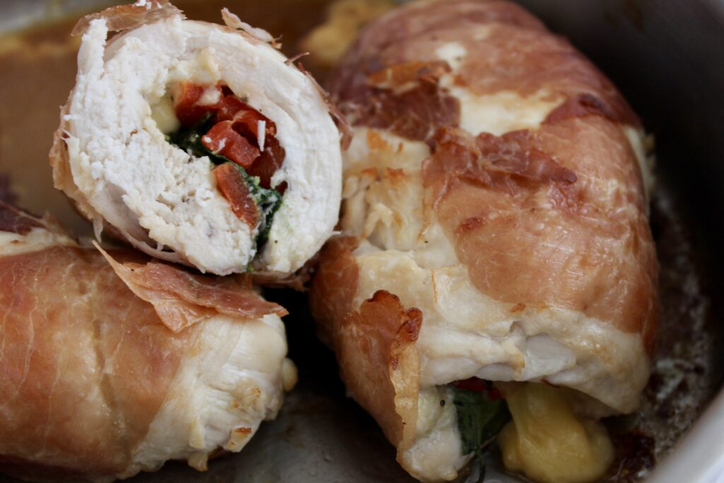 stuffed rolled chicken breasts